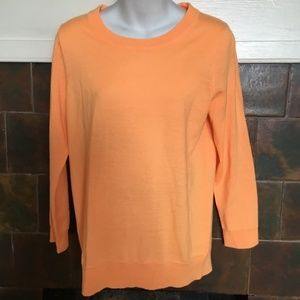 J. Crew Tippi 3/4 Sleeve Sweater Orange Sherbet M